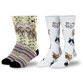 Feline Fine Designer Socks 2-Pair Set