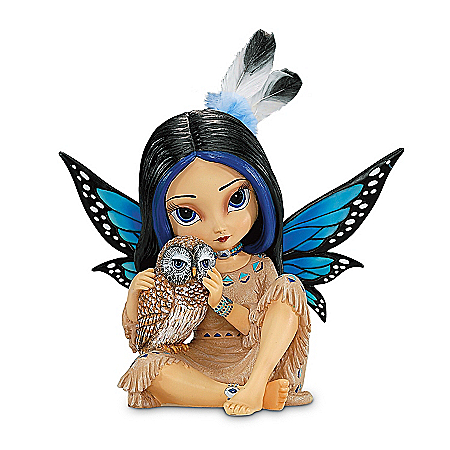 Image of Adorable Feathered Jasmine Becket-Griffith Fairy Figurine with Owl