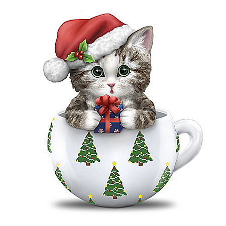 Image of Cute Teacup Kitten Christmas Figurine