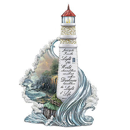 Image of Thomas Kinkade Lighthouse Figurine with Bible Scripture