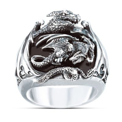 Realm Of The Dragon Sterling Silver Ring Mens Fantasy Jewelry