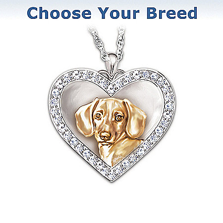 Photo of My Devoted Friend Engraved Heart-Shaped Pendant Necklace: Keepsake Jewelry Gift For Dog Lovers by The Bradford Exchange Online