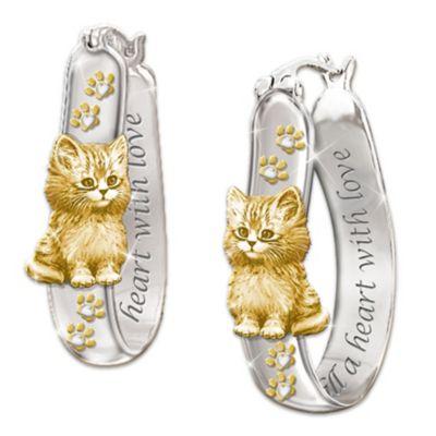 Sterling Silver 24K Gold-Plated Kitten Earrings by