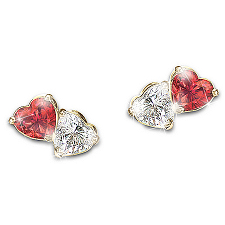 Photo of The Two Hearts, One Love Genuine Gemstone Earrings by The Bradford Exchange Online