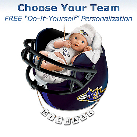 Photo of Officially Licensed NFL Personalized Baby's First Christmas Ornament by The Bradford Exchange Online