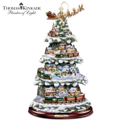 Thomas Kinkade Animated Tabletop Christmas Tree With Train