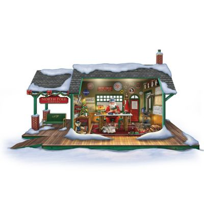 Illuminated Santa's Train Workshop Christmas Sculpture by