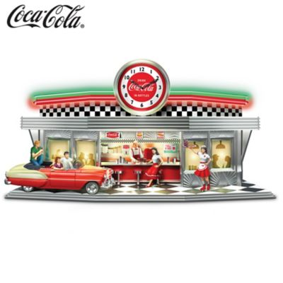 Always Time For A COKE Illuminated COCA-COLA Diner Clock by