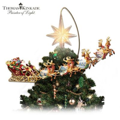 thomas kinkade holidays in motion rotating illuminated tree topper animated christmas decor - Disney Christmas Tree Topper