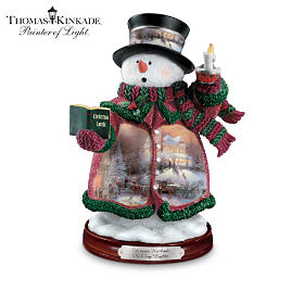Thomas Kinkade Holiday Lights Snowman Figurine