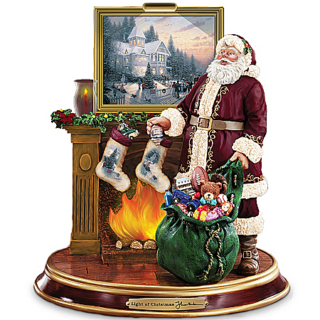 Image of Lighted Thomas Kinkade Santa's Visit Christmas Figurine