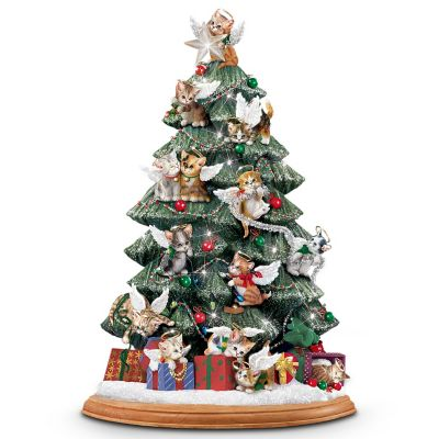 Cat Lover's Illuminated Tabletop Christmas Tree: Purr-fect Holiday