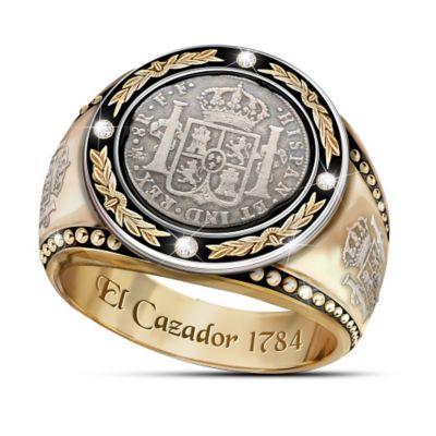 Men's Diamond Ring With El Cazador Shipwreck Coin Silver by