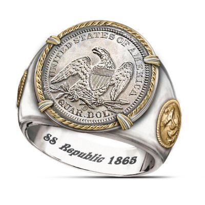 SS Republic Shipwreck Silver Civil War Commemorative Ring by