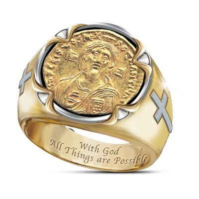 Mens Ring Face Of Faith Christ Coin Ring