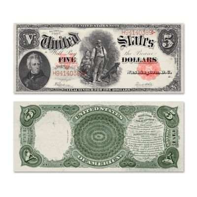 "1907 $5 /""WOODCHOPPER/"" UNITED STATES NOTE ~REPRODUCTION~"