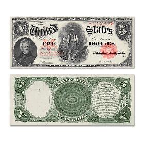 "The Series 1907 $5 Legal Tender ""Woodchopper"" Bill"