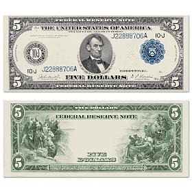 The New World Discovered 1914 $5 Federal Reserve Note