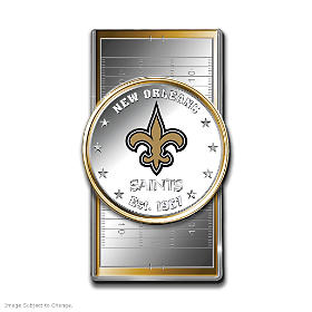 Official New Orleans Saints Silver Dollar Money Clip