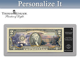 Thomas Kinkade Patriotic Christmas $2 Bill Currency