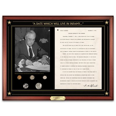 FDR Pearl Harbor Address And U.S. Mint Coin Set Wall Decor by