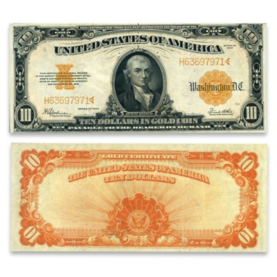 1922 $10 U.S. Gold Certificate Horse Blanket - Hillegas Note by