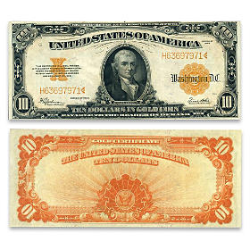 1922 $10 Gold Certificate - Hillegas Note Currency