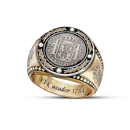 Photo of El Cazador Shipwreck Silver Coin 4-Diamond Men's Ring by The Bradford Exchange Online
