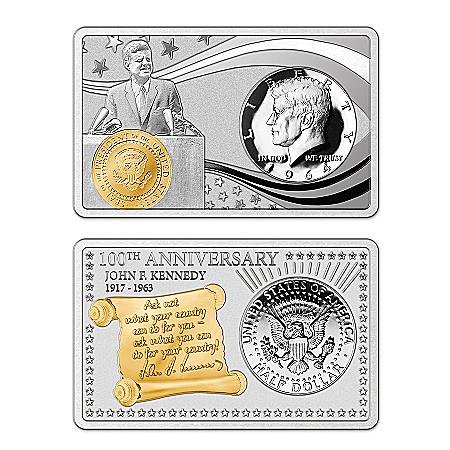 JFK 100th Anniversary Silver Bar and 1964 Half Dollar Coin Set: 1 of 1964