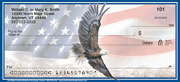 God Bless America Patriotic Eagle and Flag Personal Checks