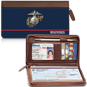 USMC Genuine Leather Zippered Checkbook Cover Wallet