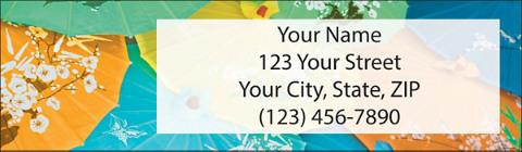 Asian Umbrella Bouquet Return Address Label