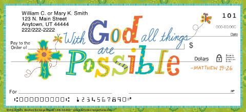 Image of Colorful Words of Faith Personal Checks
