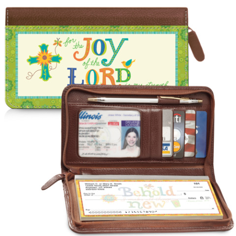 Image of Colorful Words of Faith Wallet Checkbook Cover with Zipper