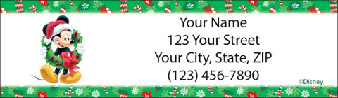 Disney Mickey & Friends Holiday Return Address Label
