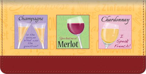 It's Wine Time Checkbook Cover