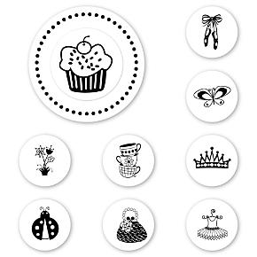 Tea and Cupcakes Peel & Stick Interchangeable Stamp Set