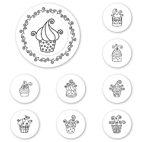 Cupcakes Peel & Stick Interchangeable Stamp Set
