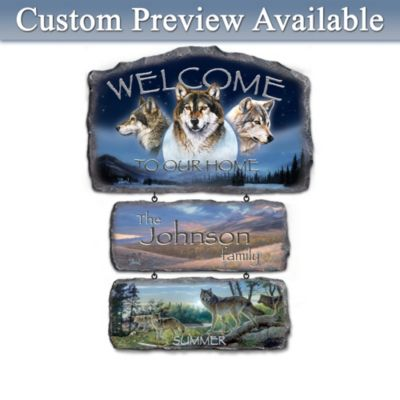 Personalized Al Agnew Seasonal Wolf Art Welcome Sign by