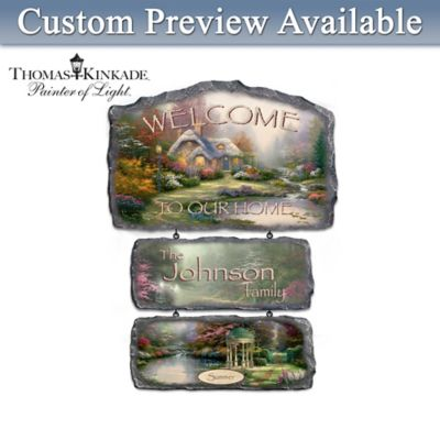 Personalized Thomas Kinkade Seasonal Art Welcome Sign by