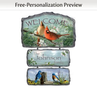 Personalized Hautman Brothers Songbird Art Welcome Sign by
