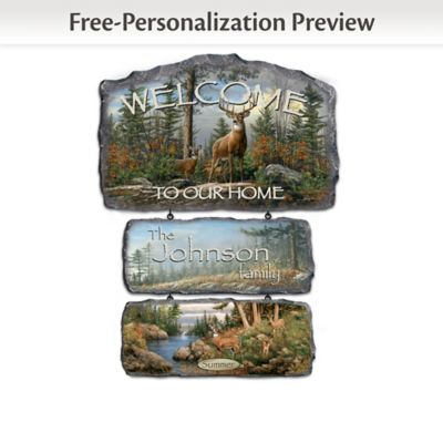 Personalized Hautman Brothers Deer Art Welcome Sign by