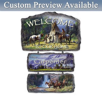 Martin Grelle Seasons Art Personalized Welcome Sign Display by
