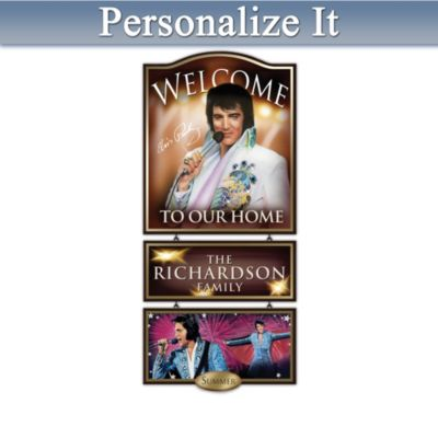 Personalized Elvis Presley Portrait Art Welcome Sign by