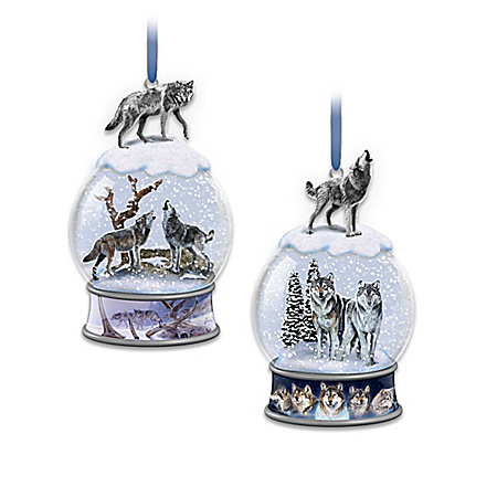 Al Agnew Snow Globe Ornament Collection With Sculpted Wolves