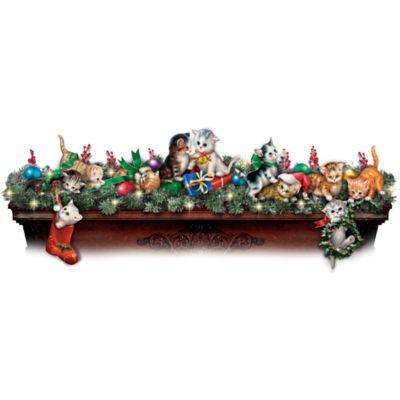Making Merry Mischief Illuminated Kitten Sculptures Garland by