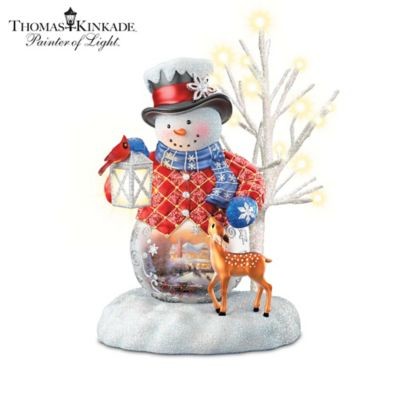 Thomas Kinkade Lighted Musical Snowman Figurine Collection by