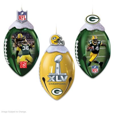 Officially Licensed Green Bay Packers Football Ornaments by