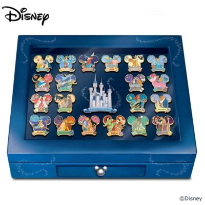 Disney Pin Collection With Collector's Cards And Display by