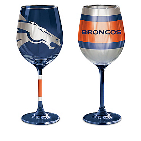 NFL Denver Broncos Wine Glass Collection: Set Of Two Stem Wine Glasses